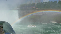 4K Niagara Falls Tourboat Tilt Down with Rainbow Footage