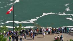 4K Niagara Falls Tourists Overlook Footage
