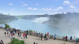 4K Tourists at a Niagara Falls Overlook Footage