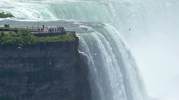 Tourists View the American Falls at Niagara Falls New York Footage