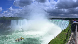 4K Niagara Falls Tour Boat Approaches Horseshoe Falls Footage