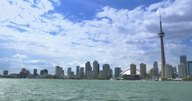4K Wide Shot Toronto Skyline from Lake Ontario with CN Tower Footage