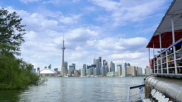 4K Toronto Skyline from Lake Ontario with CN Tower from Tour Boat Footage