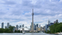 4K Toronto Skyline from Lake Ontario with CN Tower and Skydome Footage