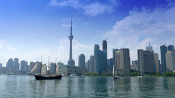 4K Toronto Skyline from Lake Ontario with Tall Ships and CN Tower Footage