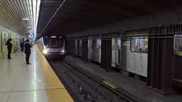 4K Toronto Subway Arrives at Station Footage