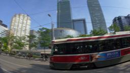 4K Trolley in Toronto Establishing Shot Footage