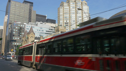 4K Toronto Trolleys Pass Each Other Footage