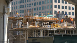 4K Construction Workers in Downtown Toronto Canada Footage