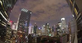 4K Night Time Lapse of New York City Skyline Footage