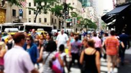 Defocused Crowds on Manhattan Street Footage