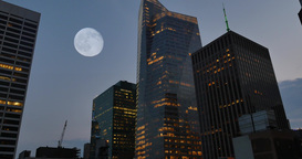 4K Full Moon Over Manhattan Skyline and Bank of America Building Footage