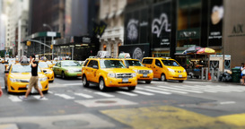 4K New York Taxi Cabs at an Intersection Footage