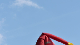 4K Red Wacky Waving Inflatable Arm Flailing Tube Man Footage