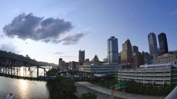 4K Pittsburgh Dusk Establishing Shot Footage