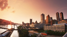 4K Pittsburgh Establishing Shot at Dusk Footage