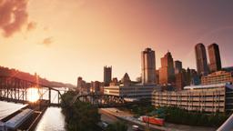 4K Pittsburgh Establishing Shot At Dusk stock footage