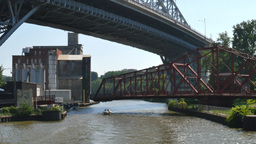 4K Cleveland Drawbridge Swings Close Footage
