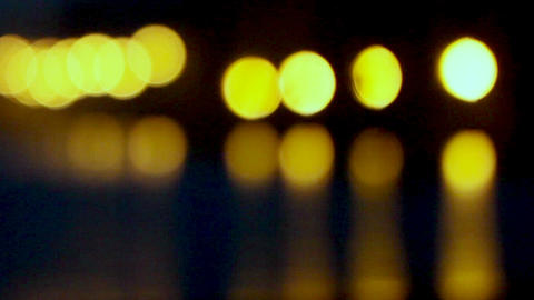 blurred light of the night lights reflected in river water Stock Video Footage