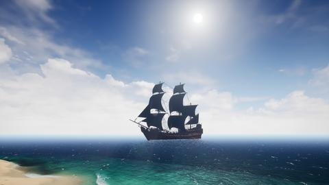 Beautiful pirate ship in the sea. 3D Rendering フォト