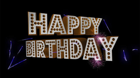 HAPPY BIRTHDAY with Fireworks background Digital display Animation