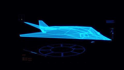 Blue HUD 3D Airplane Hologram Interface Graphic Element Animation