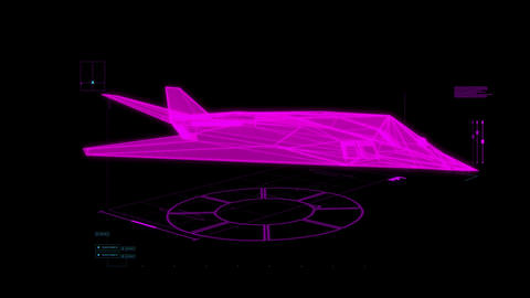 Fuchsia HUD 3D Airplane Hologram Interface Graphic Element Animation