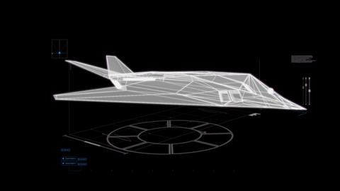 White HUD 3D Airplane Hologram Interface Graphic Element CG動画素材