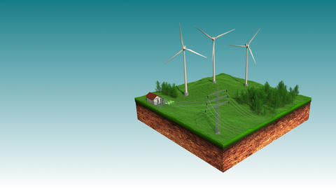 Wind Power Plant Sending Eco Power to Electric Power Transmission Animation Animación