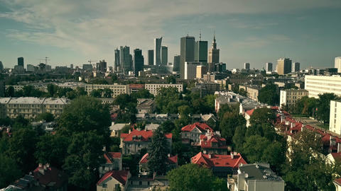 WARSAW, POLAND - AUGUST 7, 2018. Aerial establishing shot of the city GIF