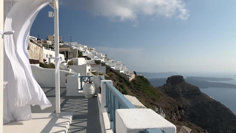 White Flowing Canopy In Santorini Footage