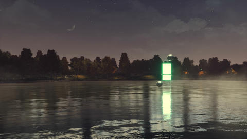 Night landscape with portal to another dimension GIF