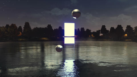 Portal to another dimension above calm lake at night Animation