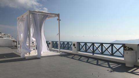 Fluttering Canopy In Santorini Resort Footage