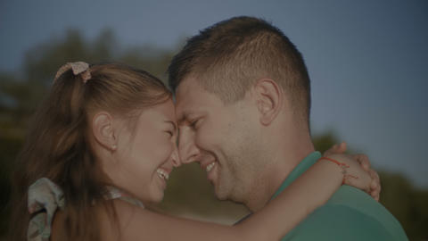 Portrait of father and daughter in love embrace Footage