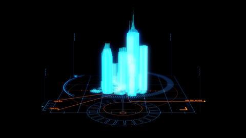 Blue HUD 3D City Hologram Interface Graphic Element Animation