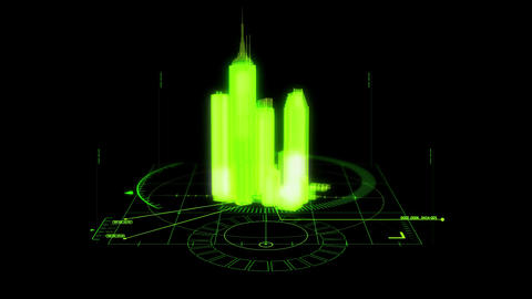 Green HUD 3D City Hologram Interface Graphic Element Animation