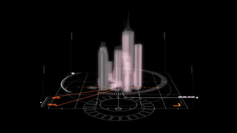 White HUD 3D City Hologram Interface Graphic Elemen Animation