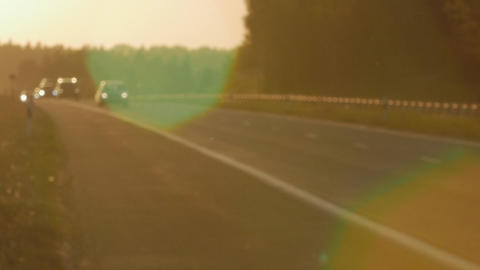 Blur of road at sunset GIF