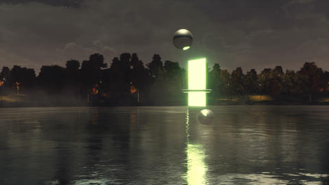 Portal to another dimension above night lake surface Animation