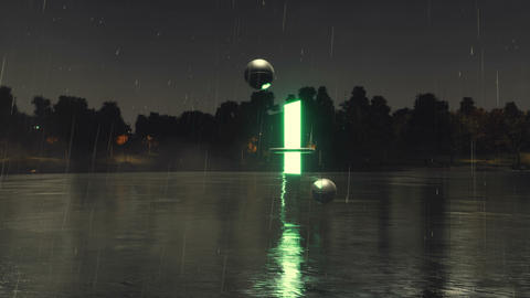 Glowing portal to another dimension at rainy night Animation