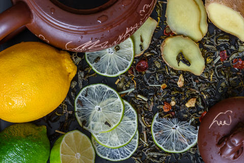 Teapot with ingredients for ginger tea Photo