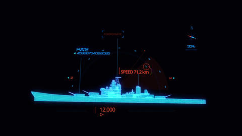 Blue HUD 3D Ship Hologram Interface Graphic Element Animation