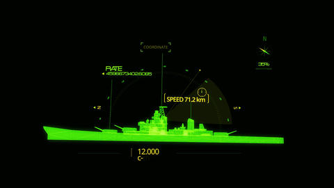 Green HUD 3D Ship Hologram Interface Graphic Element Animation