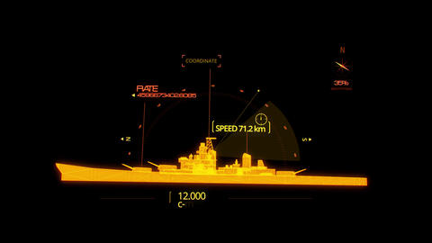 Orange HUD 3D Ship Hologram Interface Graphic Element Animation