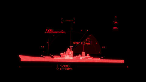 Red HUD 3D Ship Hologram Interface Graphic Element Animation