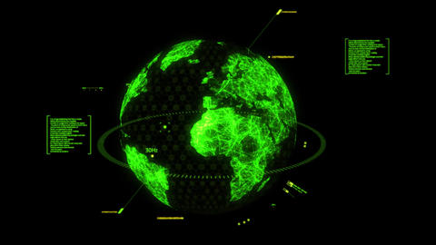 Green HUD 3D Earth Hologram Interface Graphic Element Animation