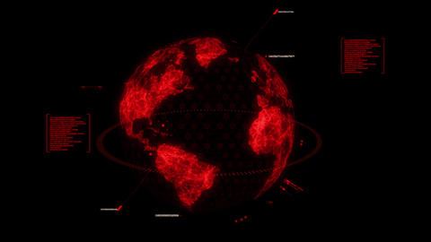 Red HUD 3D Earth Hologram Interface Graphic Element Animation
