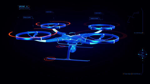 Blue HUD 3D Drone Hologram Interface Graphic Element Animation