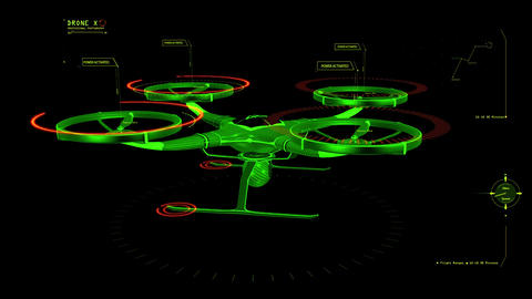 Green HUD 3D Drone Hologram Interface Graphic Element Animation